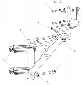 Конструкция и комплектность КМЧ для крепления ПРМ-ПРД