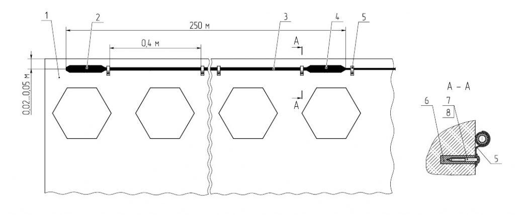 Крепление ВЧЭ на заграждении из железобетонных плит